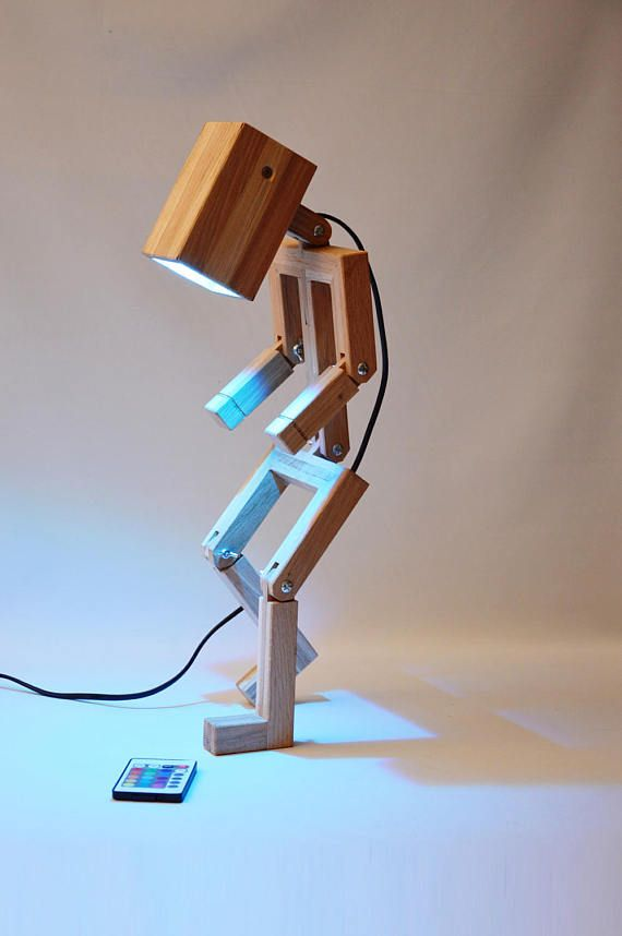 Jaffu Wooden Articulated Design Lamp In The Form Of A Personage Recycled Oak Wood Led Color And Remote Control By Lune Et Animo Wood Lamp Design Desk Lamp Design Wooden Lamp