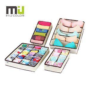 MIU COLOR® Drawer Dividers Closet Organisers Bra Underwear Storage Boxes 4  Set: Amazon.