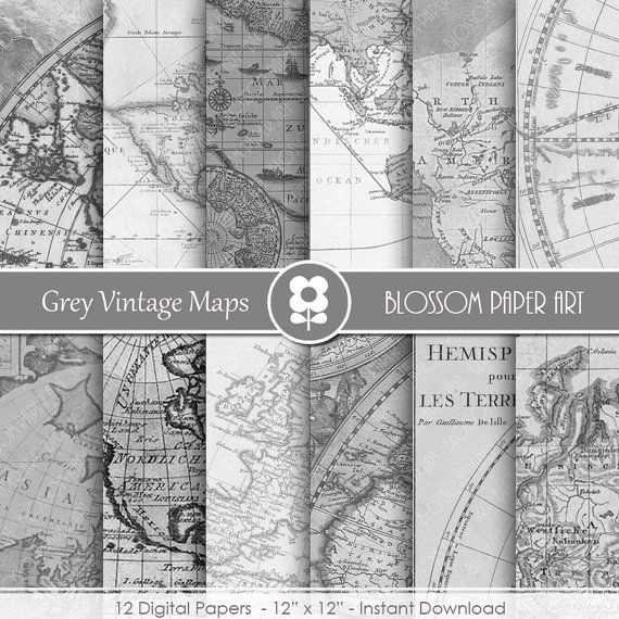 Vintage Maps Digital Paper, Grey Maps Digital Paper Pack INSTANT DOWNLOAD  Use for Scrapbooking, Cardmaking, Handmade Stationery, Invitations,