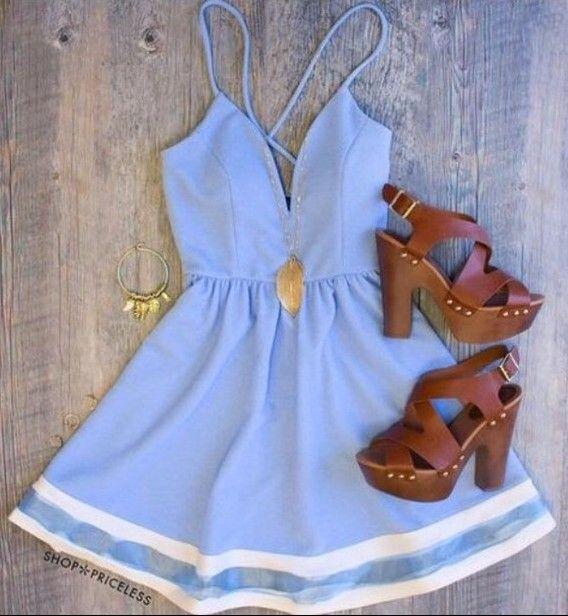 Sexy spaghetti strap sleeveless low cut spliced dress for women white blue (sexy  spaghetti strap sleeveless low cut spliced dress f) by www.irockbags.com 5be2ba5e1