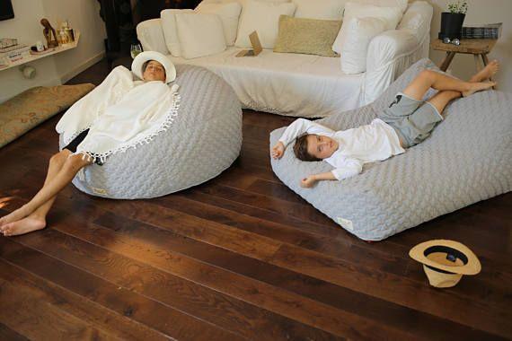 XL beanbag chair, quilt fabric bean bags cover, LARGE floor cushion ...