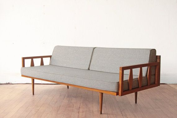 Wood Frame Mid Century Sofa Blue Grey Cushions On Etsy 1 150 00