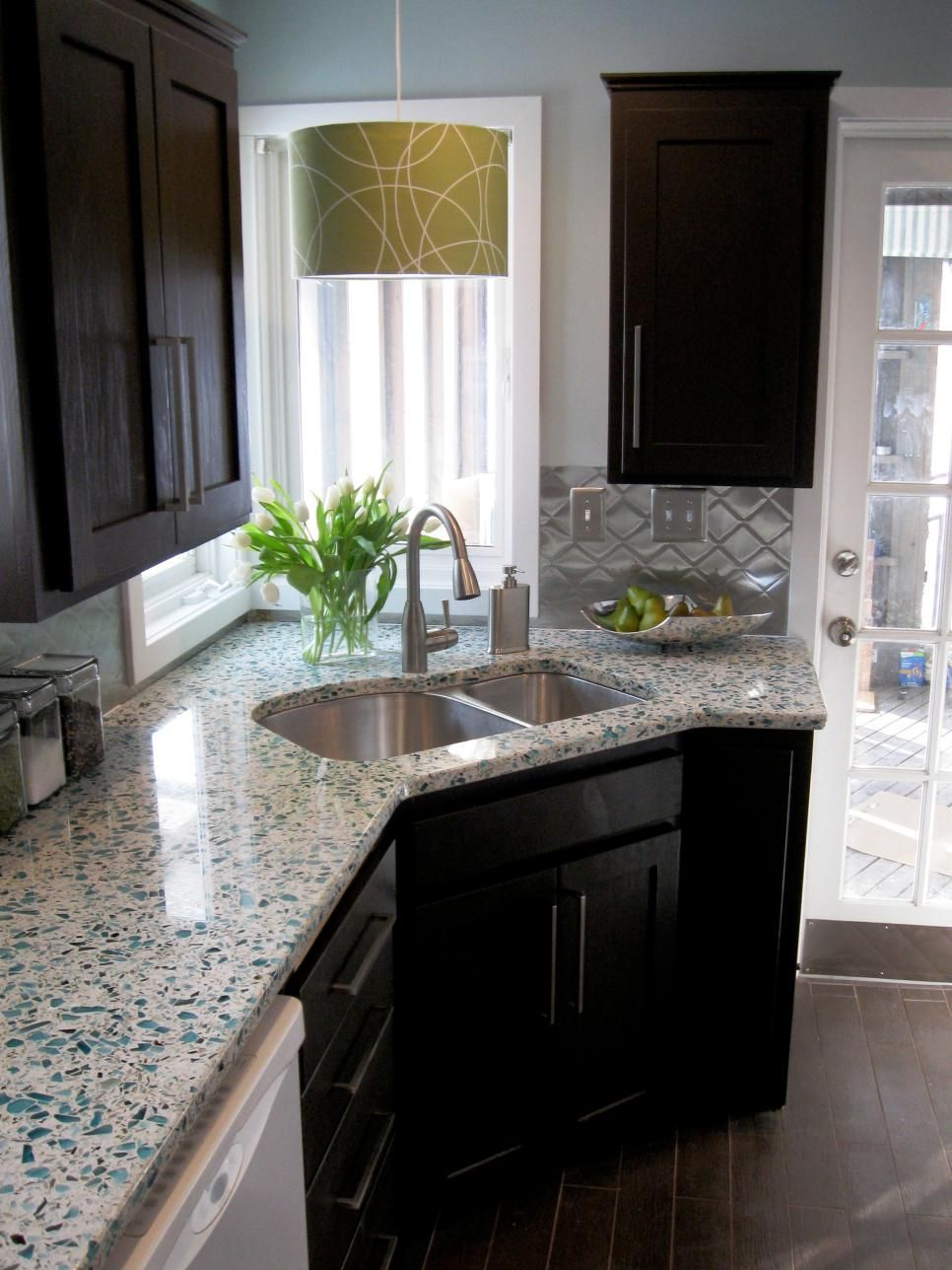 Budget Friendly Before And After Kitchen Makeovers. Glass CountertopsBacksplash  Dark CabinetsRecycled ...