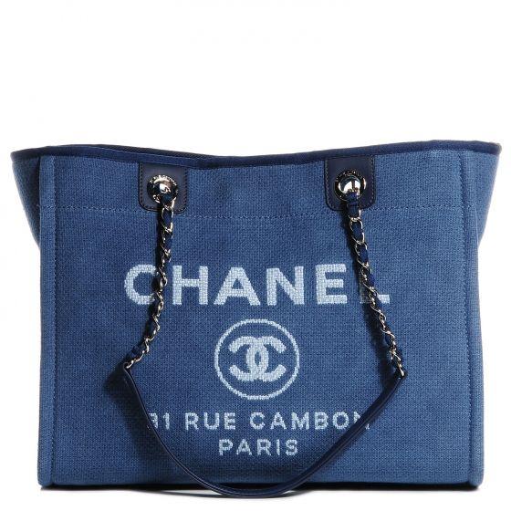 8fa5453a1 CHANEL Toile Canvas Small Deauville Tote in Denim Blue. Monday Blues, Chanel  Handbags,