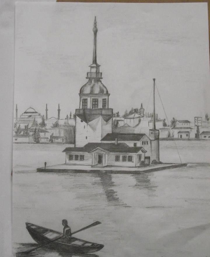 Kız Kulesi Karakalem çizimleri Resim