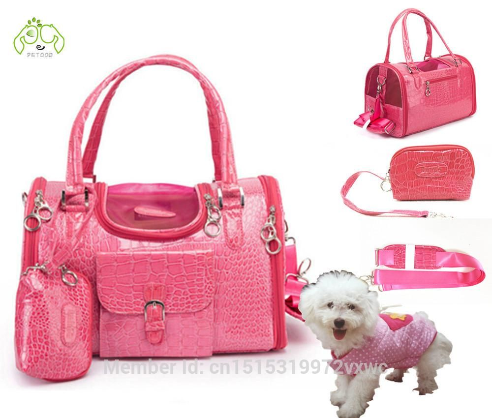 Fashion Small Pet Carrier Dog Bag For Animals Cat Traveling Handbags Slings Travel Carry Pink