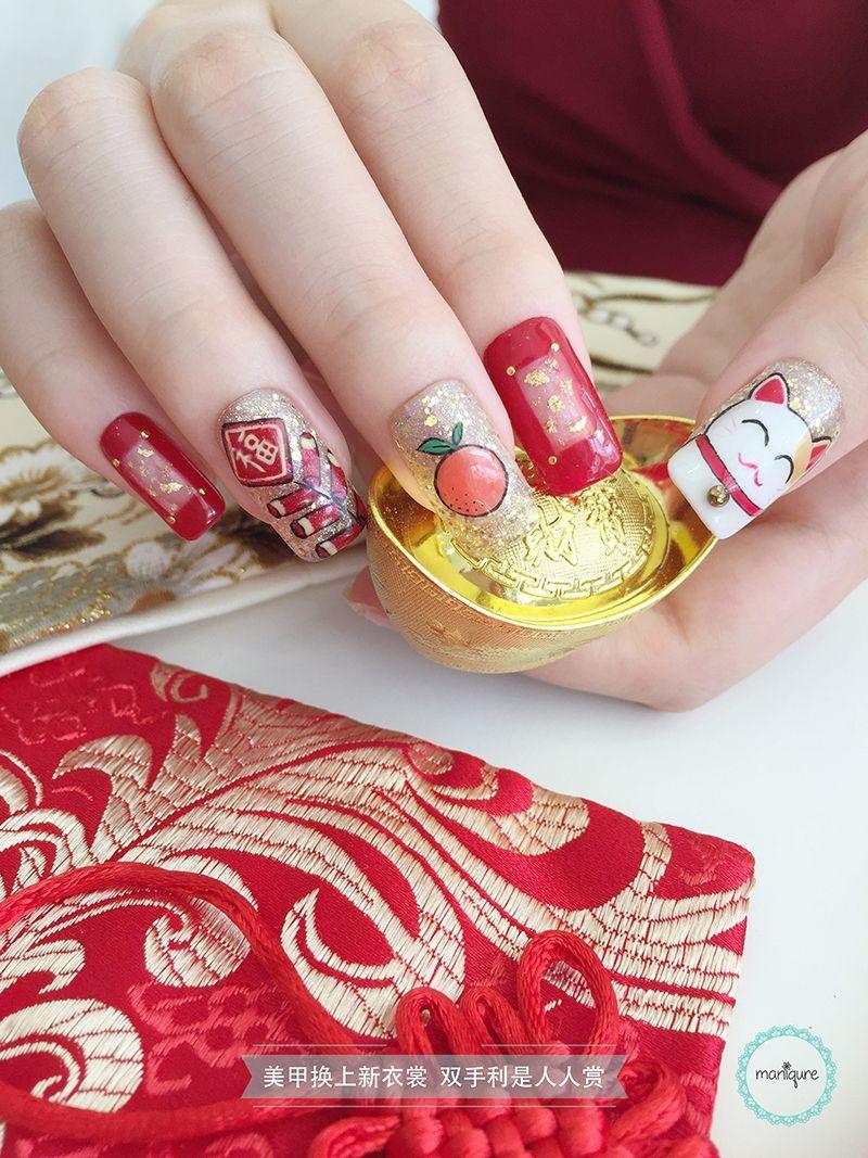 Chinese New Year Nail Art Cny Manicure New Years Nail Art New Year S Nails New Years Nail Designs