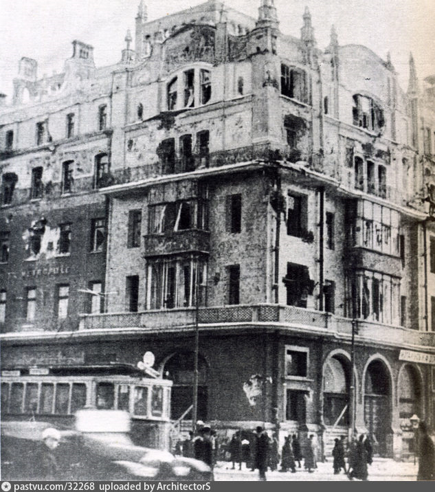 Разбитый фасад гостиницы Метрополь, 1917 г. | Старые ...