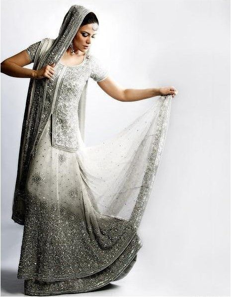Indian Weddings Bridal- Silvery Sophisticated White | Wedding ...