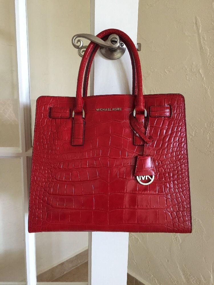 54ecffa4799a MICHAEL Michael Kors Dillon Large North/South Tote Embossed Leather Dark  Red #MichaelKors #TotesShoppers