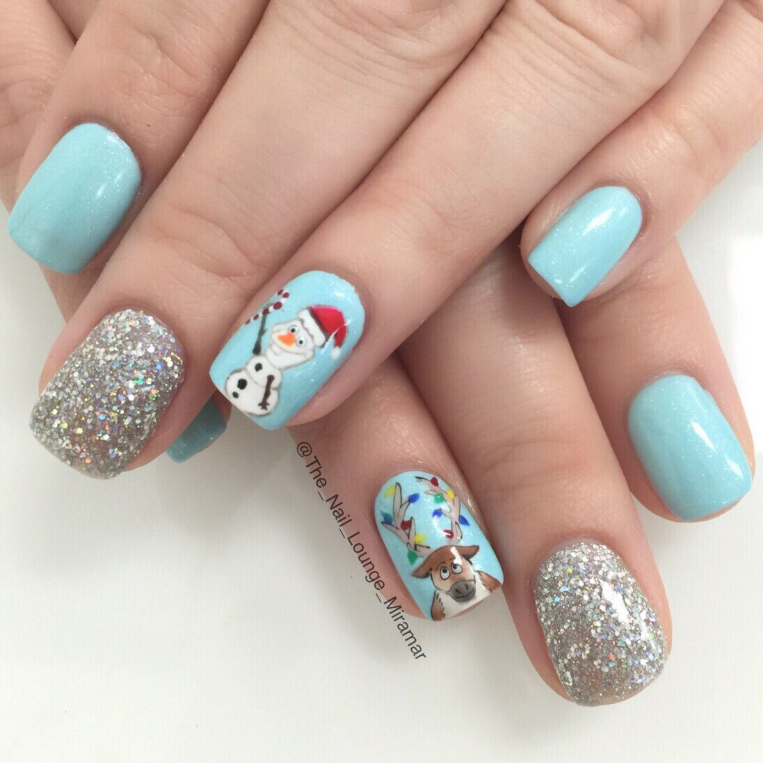 disneys frozen olaf christmas inspired nail art design - Disney Christmas Nails