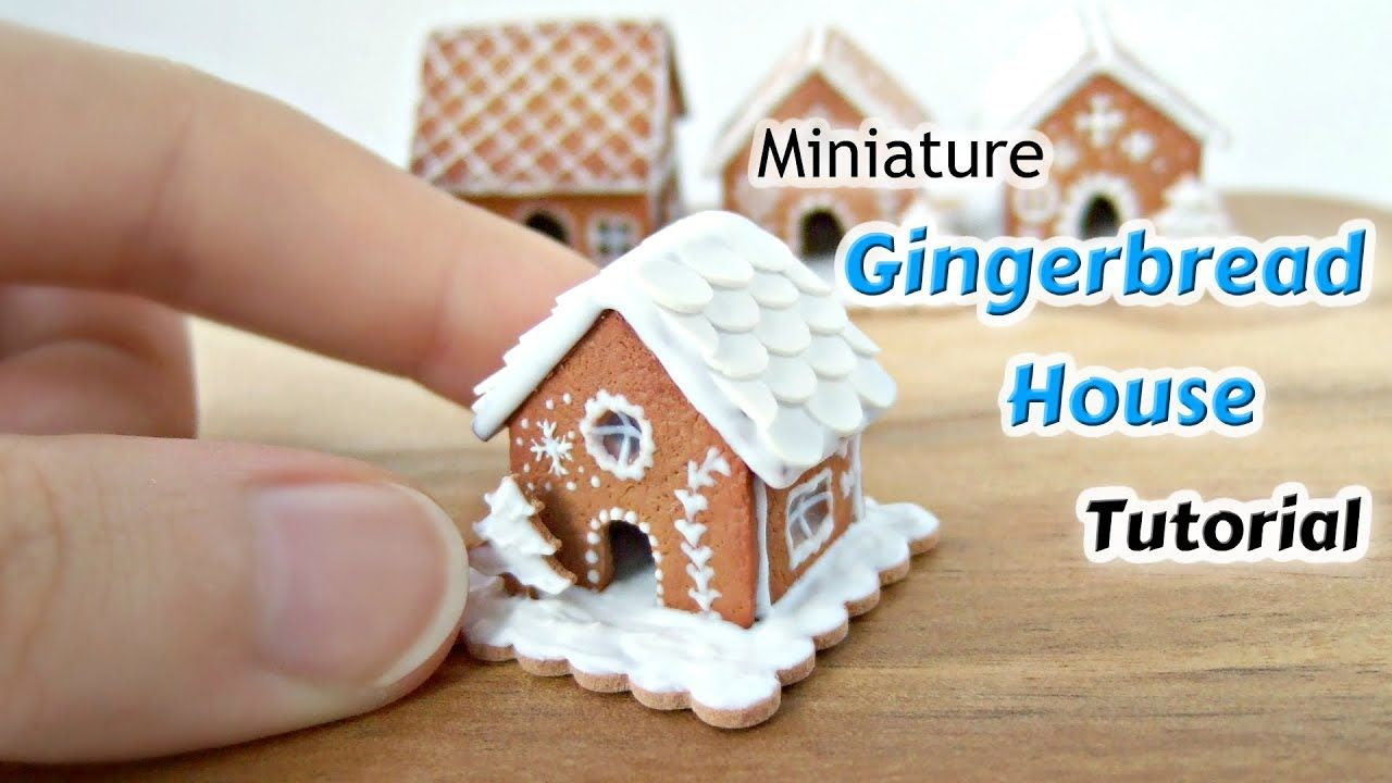 Photo of Miniature Gingerbread House Polymer Clay Tutorial – Dolls House Food