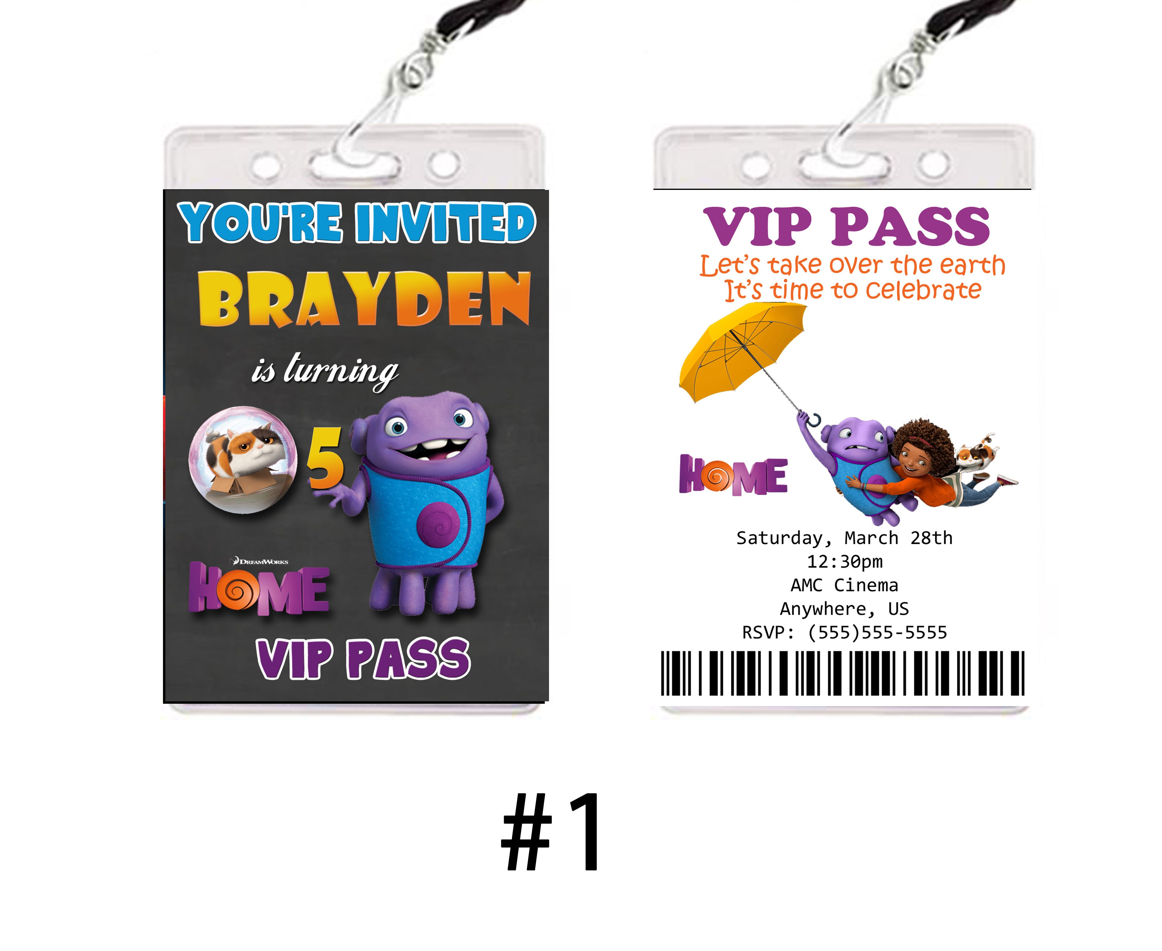 Dreamworks Home Movie Birthday Invitations VIP passes or party