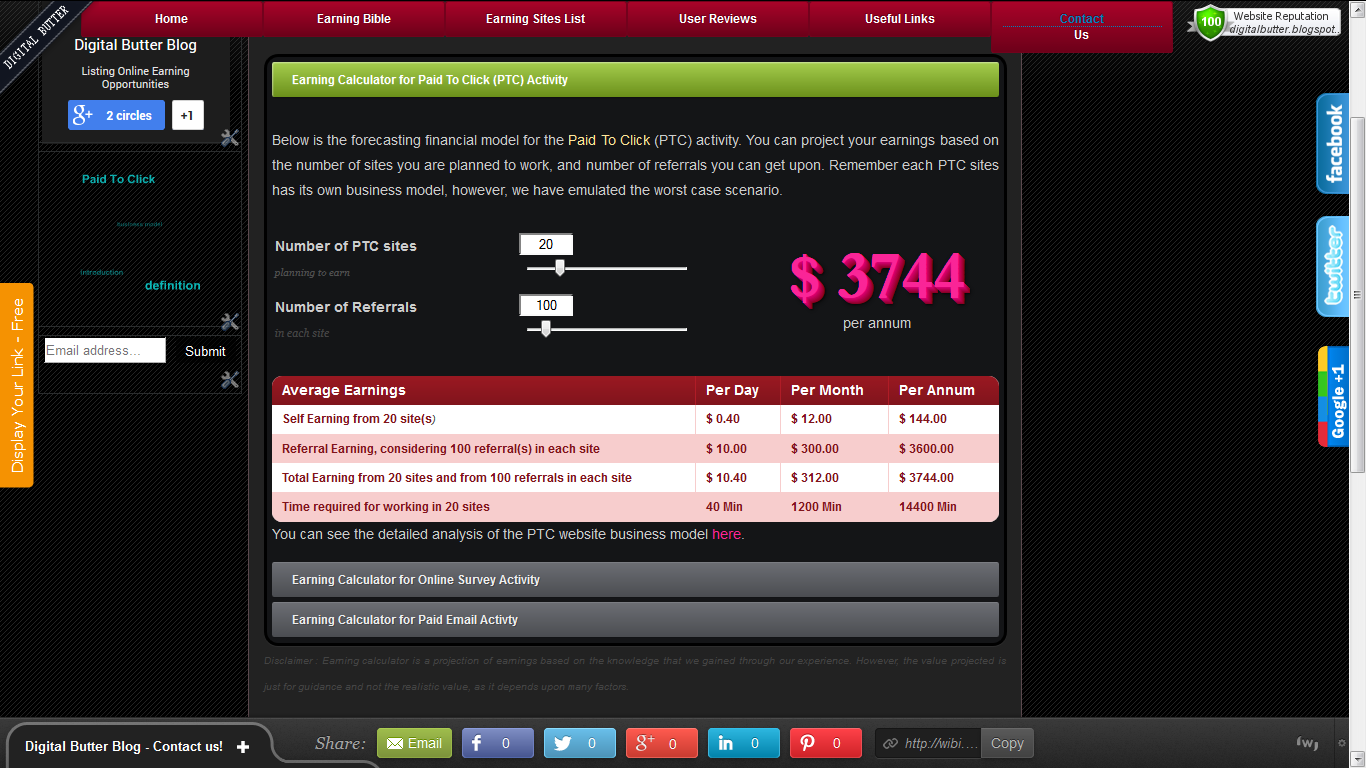 Here is our next update. Online earning calculator page, for predicting the aver...