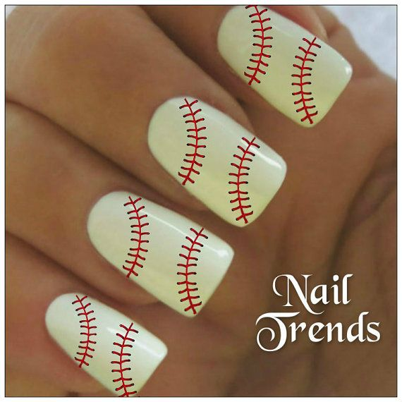 Baseball Nail Decals 20 Vinyl Adhesive Tattoos Art