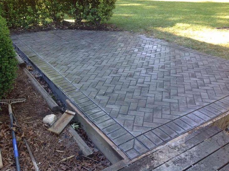 stamped concrete patio herringbone