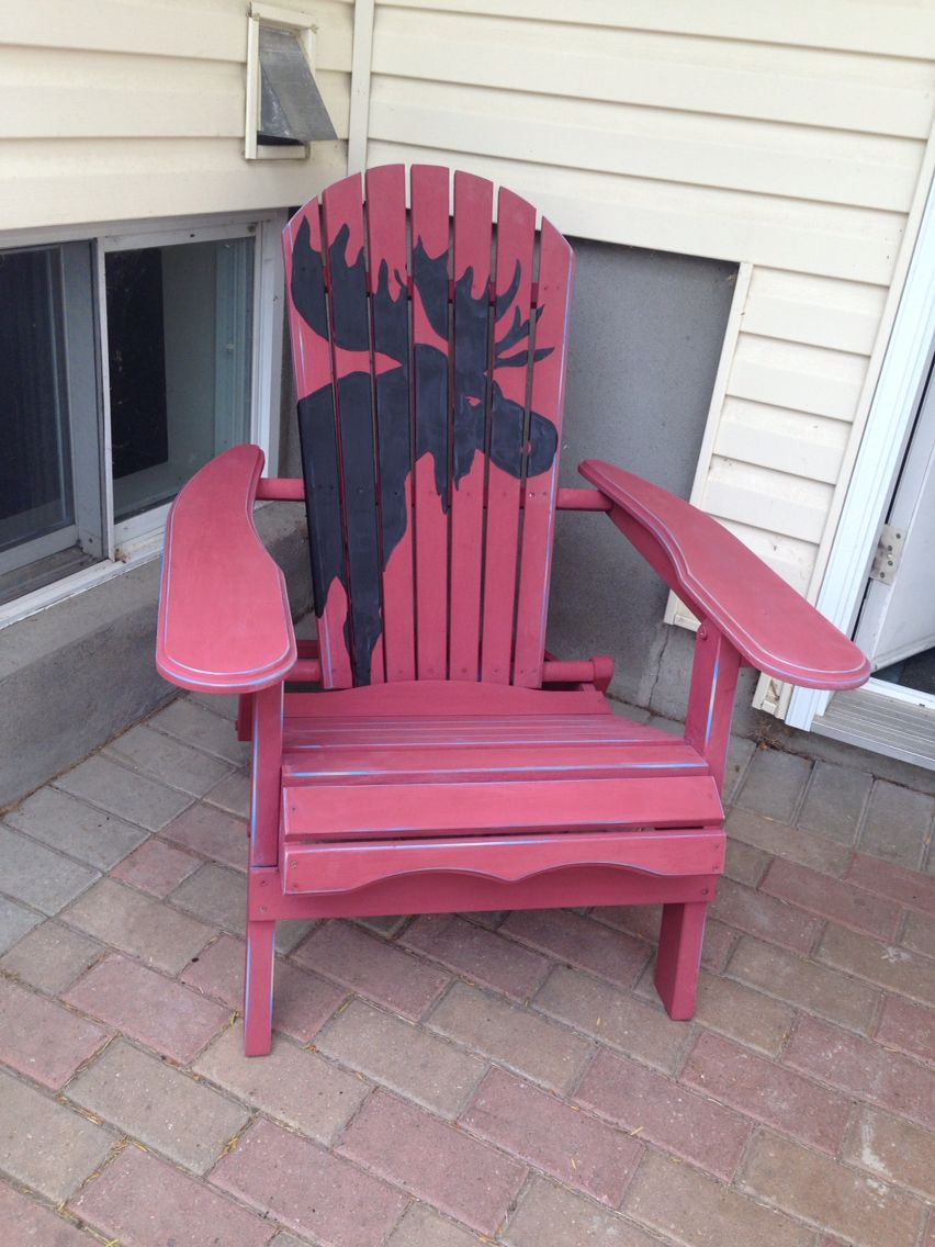 Moose Silhouette Painted On Adirondack Chair