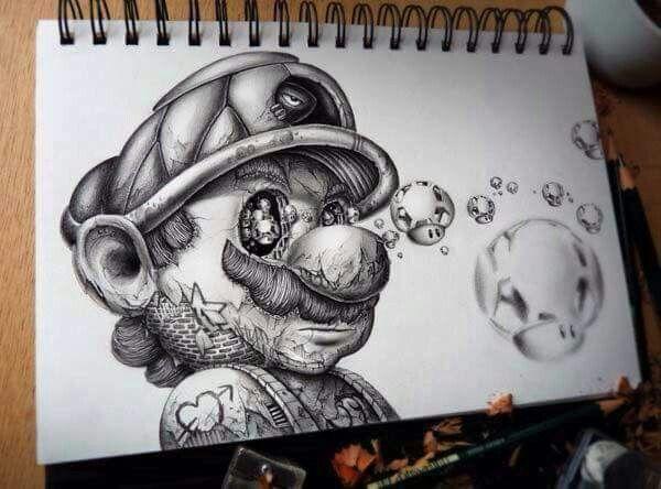 Mario Bross Arte De Peces Produccion Artistica Arte Del Bosquejo