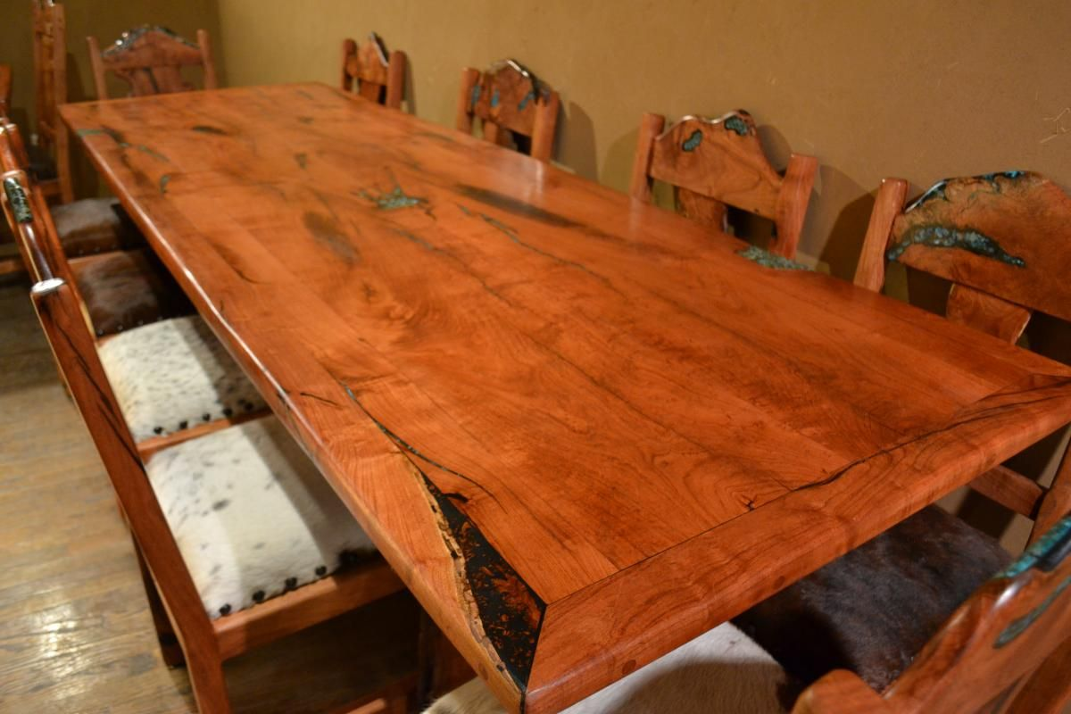 9 Mesquite Dining Room Table With 10 Chairs All Inlaid With