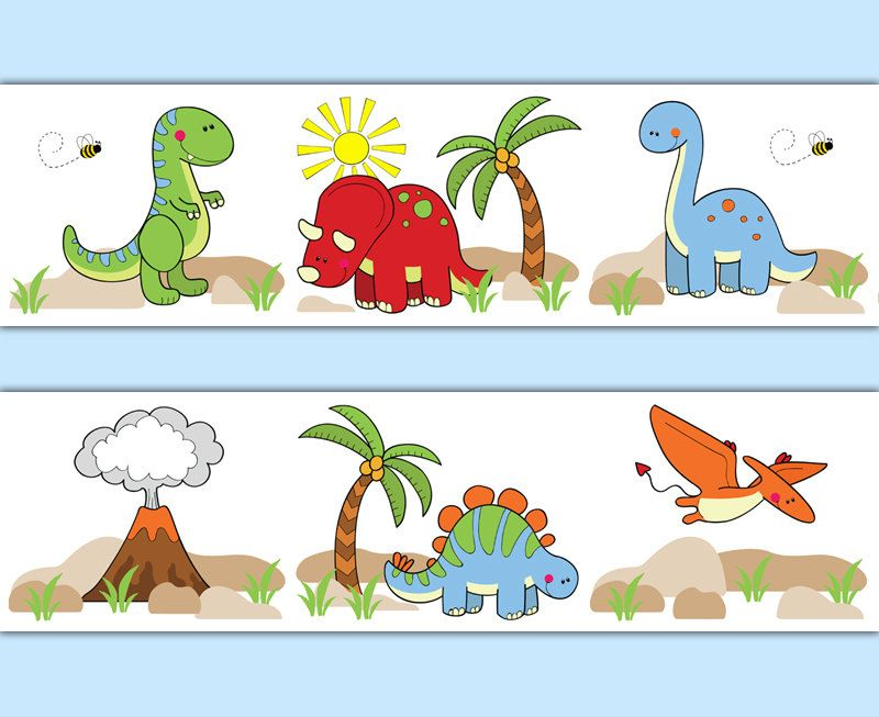 DINOSAUR WALLPAPER BORDER Wall Decals Baby Boy by
