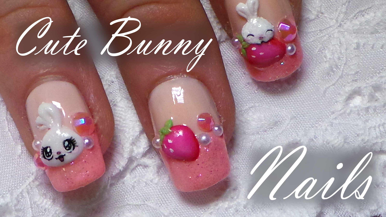 Cute bunny u strawberry nail art tutorial easy d acrylic nail art