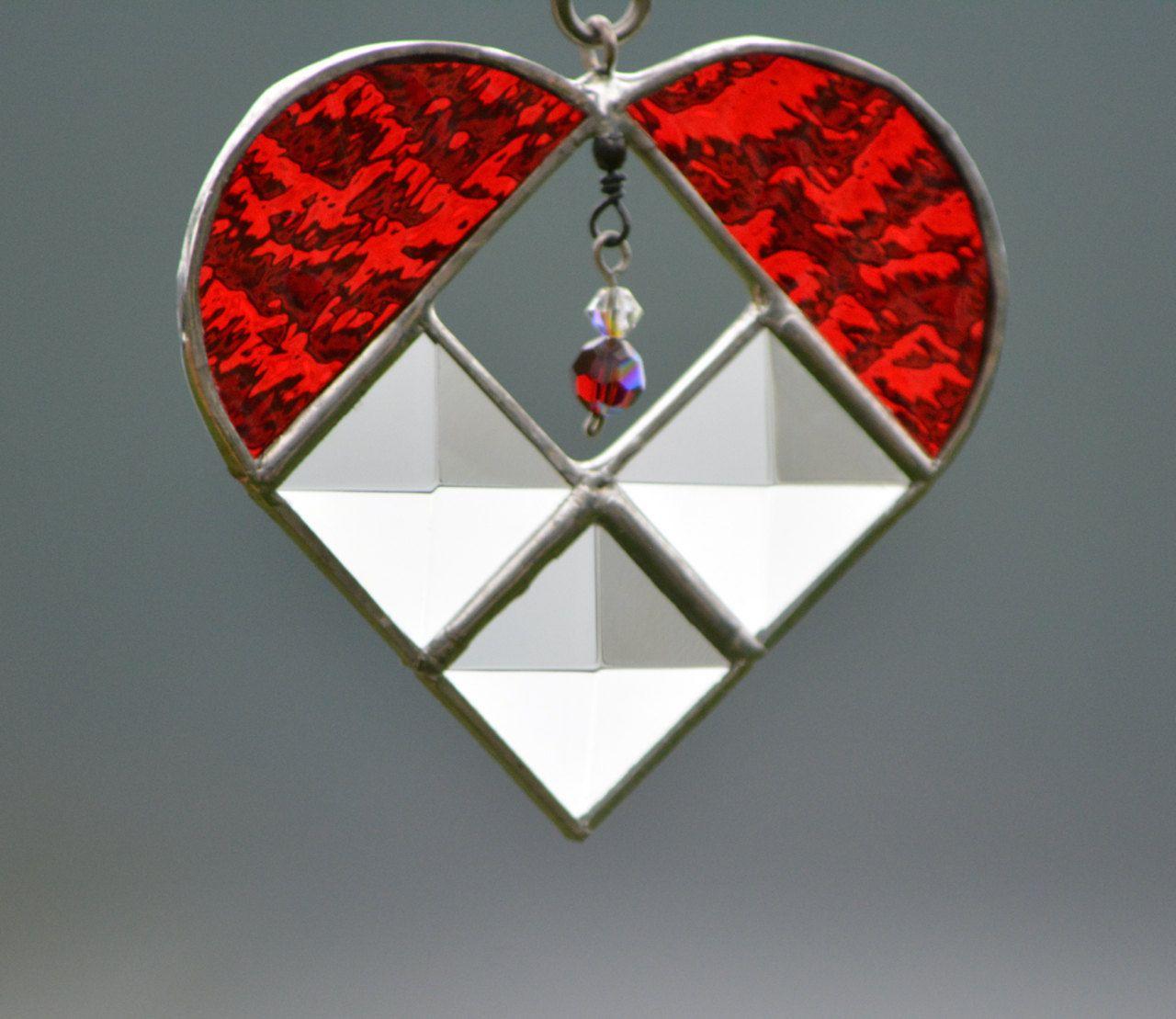 Miniature crystal ornaments - Stained Glass Heart Suncatcher Christmas Tree Ornament Miniature Heart Swarovski Crystal Ruby