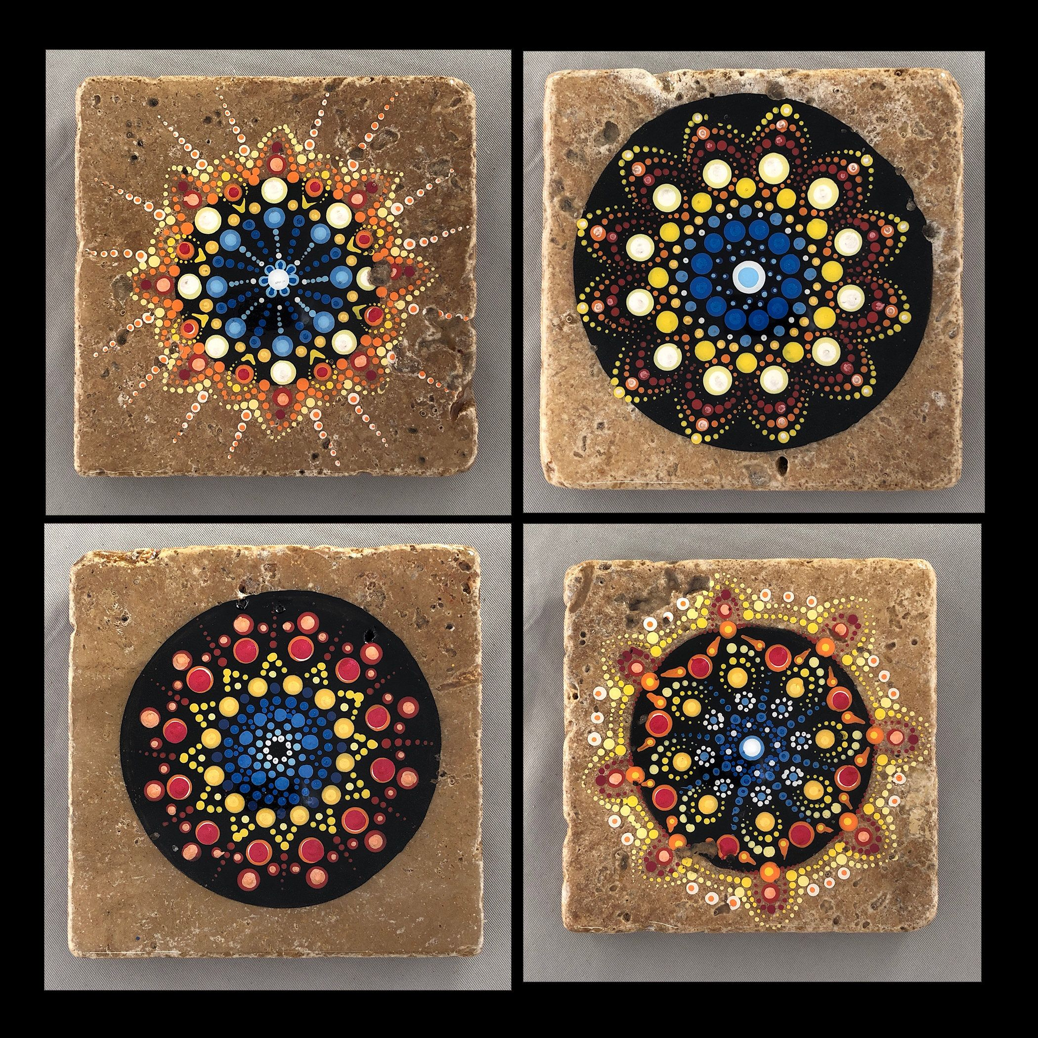 Stein Fliesen Bemalen Ceramic Tile Art Natural Stone Tile Mandala Hand Painted Set