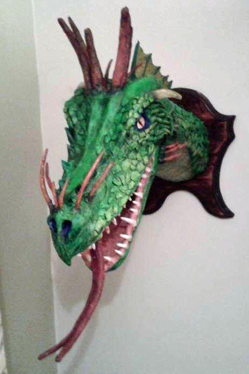 steve's second paper mache dragon tropohy   Papier mache   Paper