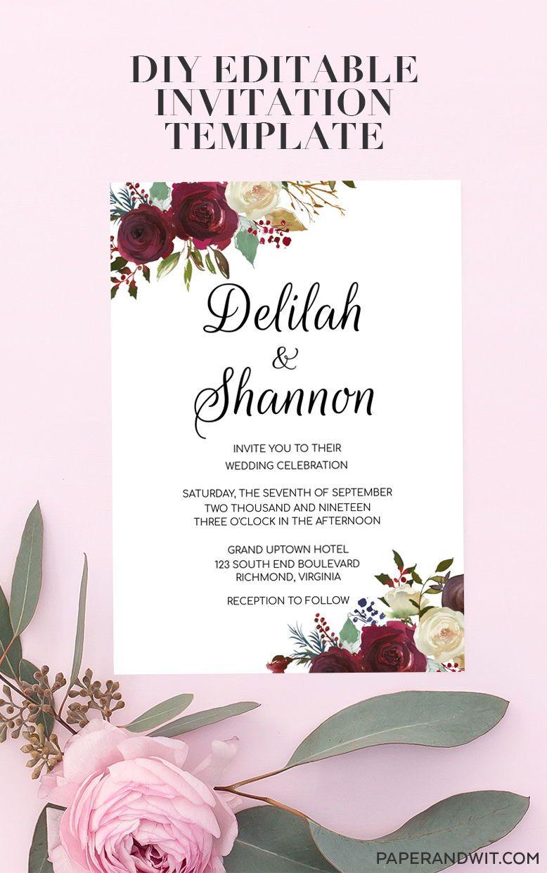 Wedding Invitations Elegant Floral Printable Wedding Invitations Template E Buy Wedding Invitations Printing Wedding Invitations Discount Wedding Invitations