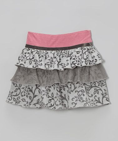 Take a look at this Gray Floral Vine Ruffle Skirt by Girl & Co. by Limeapple on #zulily today!
