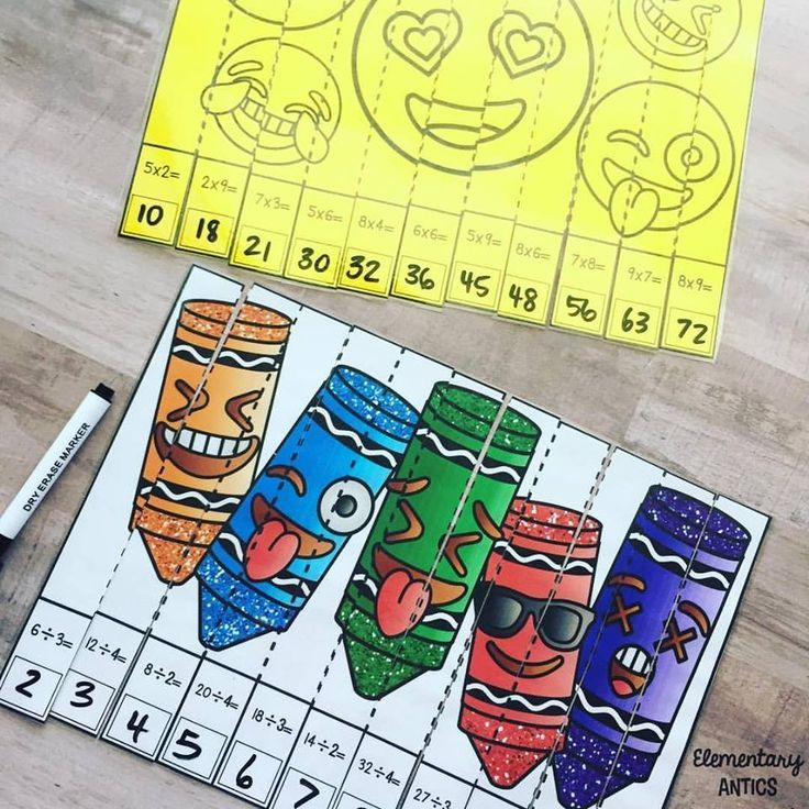 Emoji Multiplication & Division Math Puzzles (With images