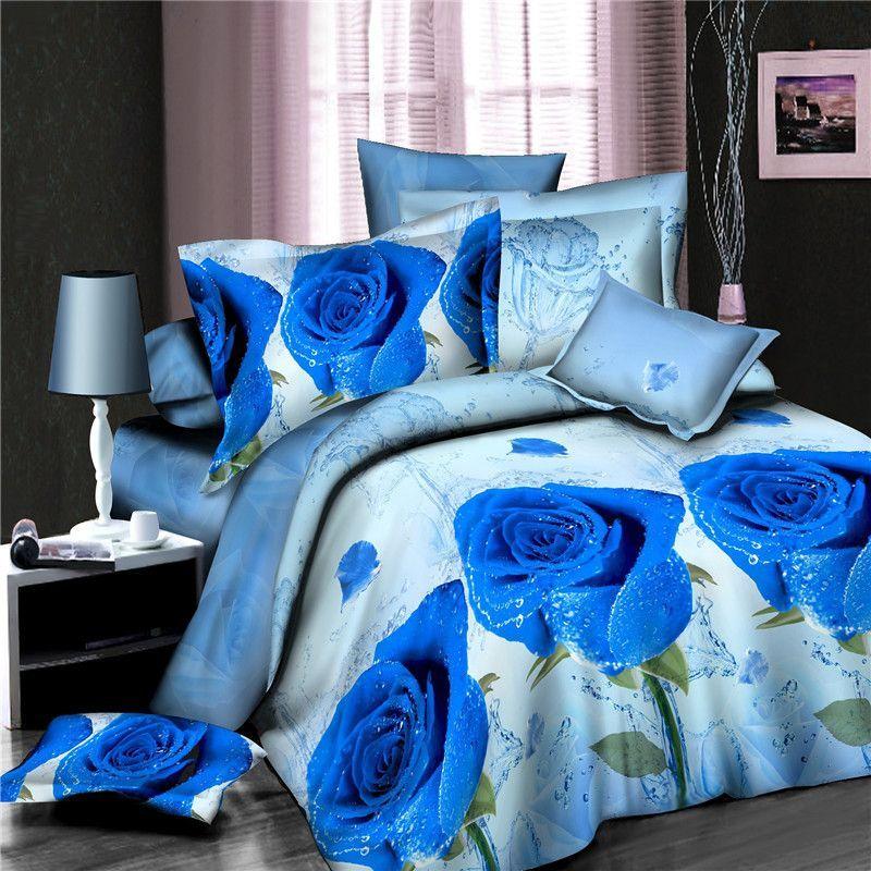 2Pcs 3D Blue Rose Cotton Queen King Twin Quilt Duvet Cover Sheet Bedding Set
