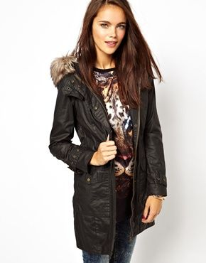 River Island 3/4 Length Waxed Parka | Fashion | Pinterest | Rivers ...