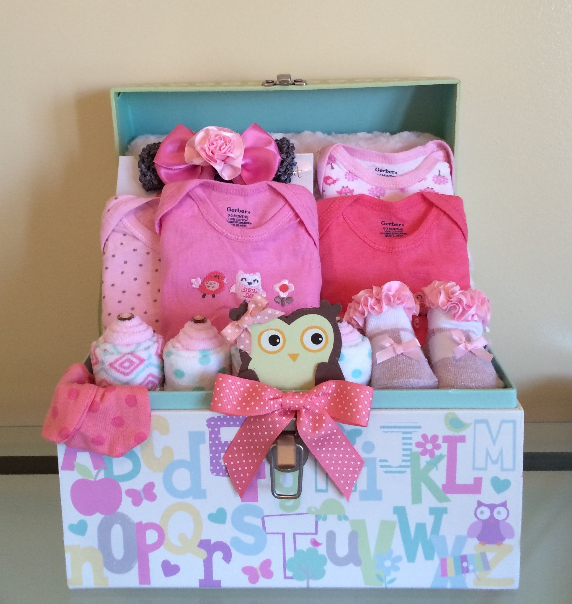 Little Woodland Animals Baby Girl Gift Basket Baby