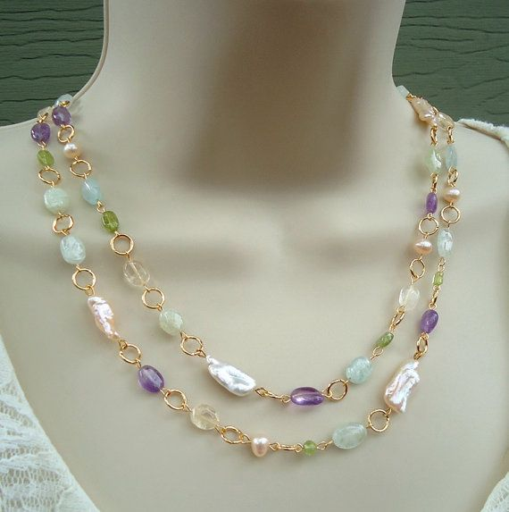 Long Necklace Multi Gemstone Semi Precious Gemstones Multi