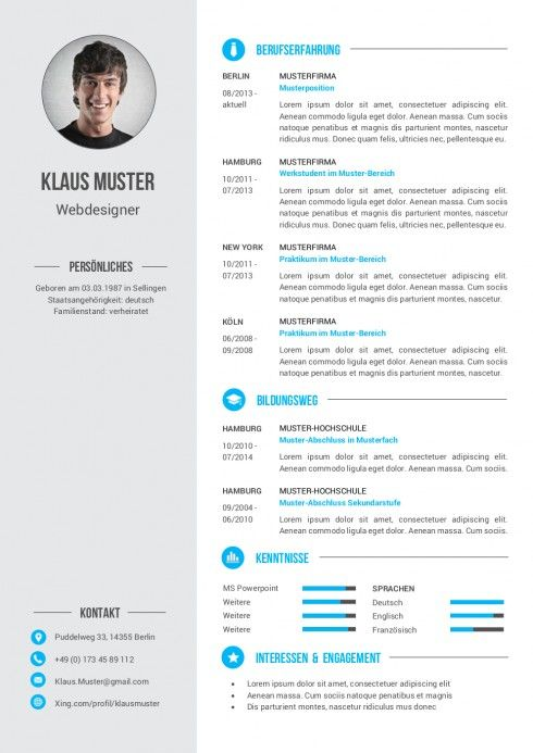 Lebenslauf Muster Vorlage 6 Bewerbung Pinterest Lebenslauf