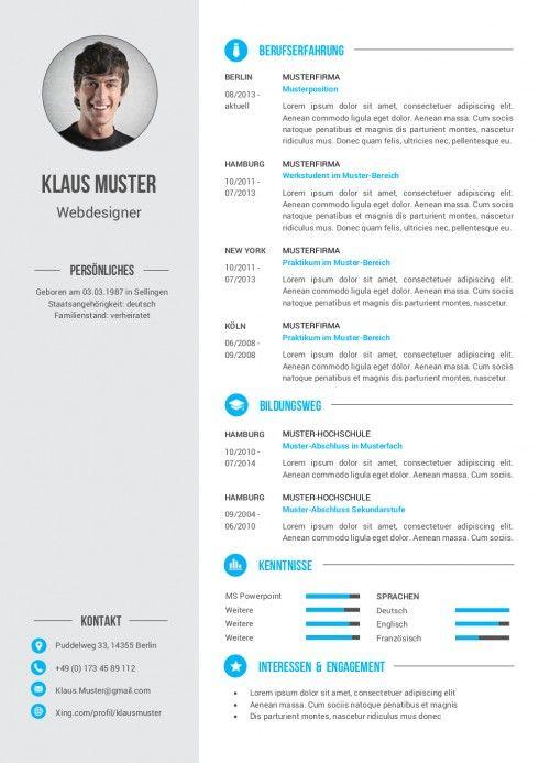 Lebenslauf Muster Vorlage 6 Resume Pinterest Cv Template