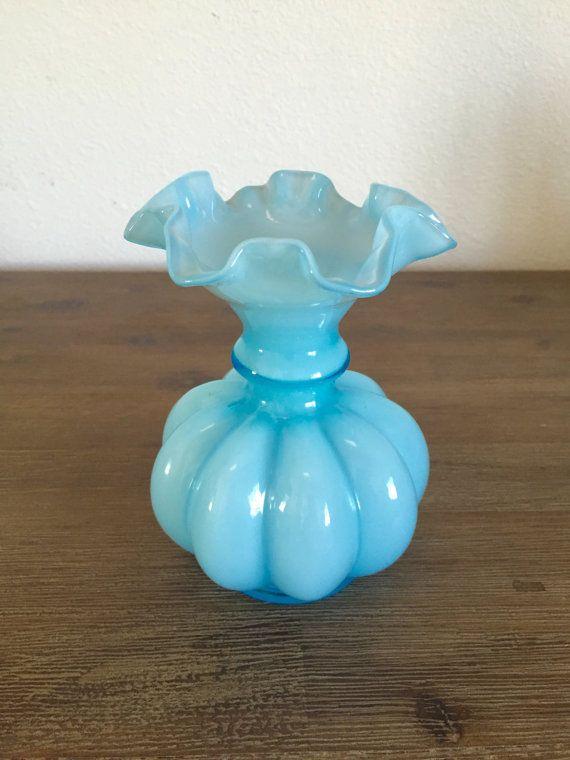 Fenton Melon Vase Light Blue Overlay Ruffled Edge Glass Vase