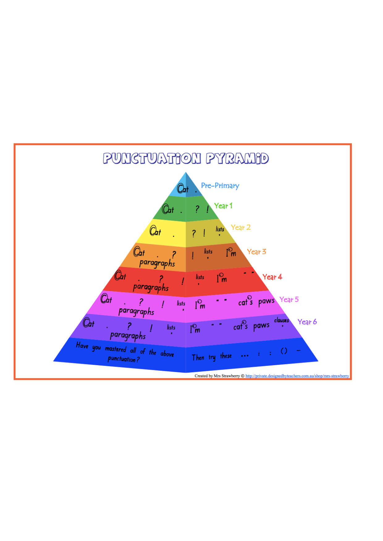 n curriculum punctuation pyramid foundation to year  n curriculum punctuation pyramid foundation to year 6 display these in every classroom in