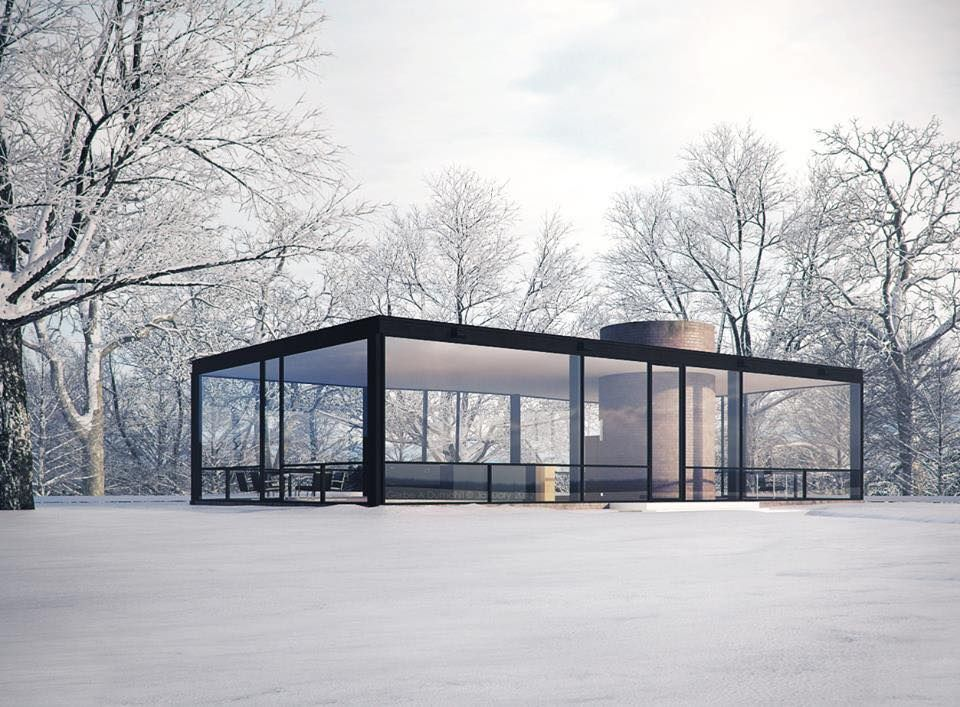 Philip johnson glass house covered in snow magical mid for Glass home plans