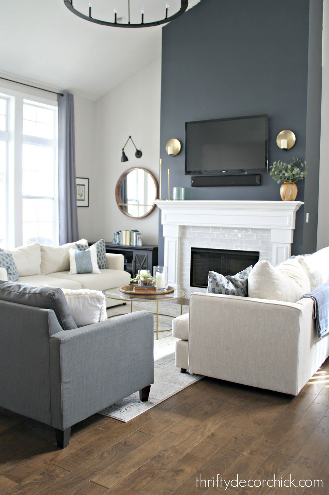 Fireplace Wall Color Is Cyberspace From Sherwin Williams It S An Absolutely Pe Grey Accent Wall Living Room Accent Walls In Living Room Grey Walls Living Room