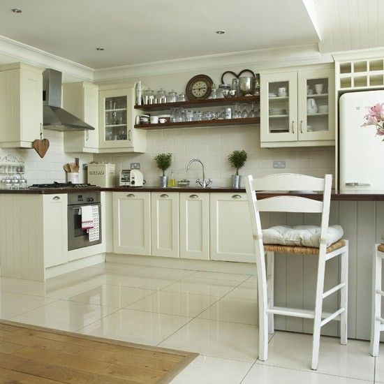 Light Cream Kitchen Simple Cream Units Teamed With White Floor And Wall  Tiles Create A Fresh