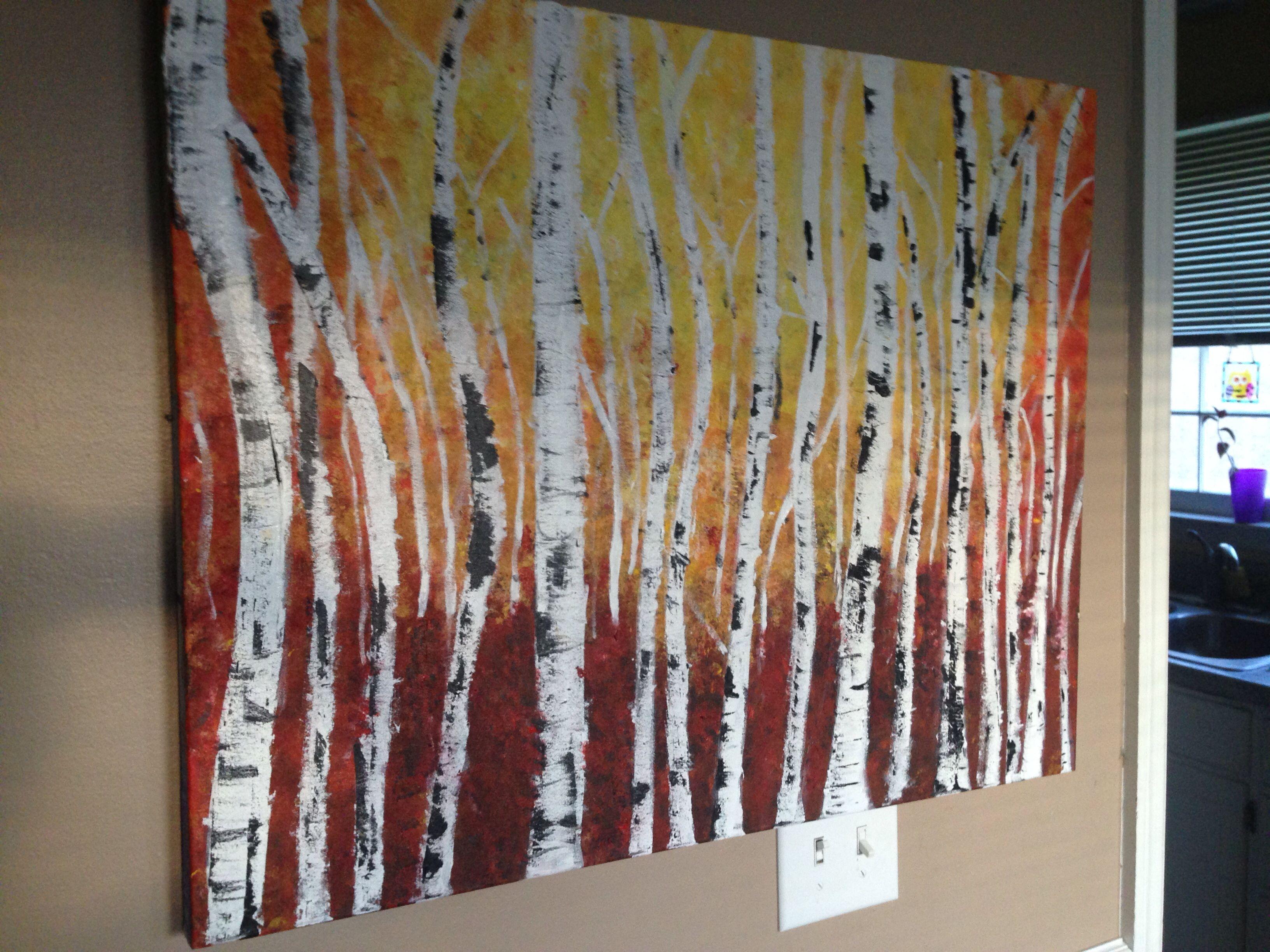 Abstract art Sarah Barbian Birch Trees