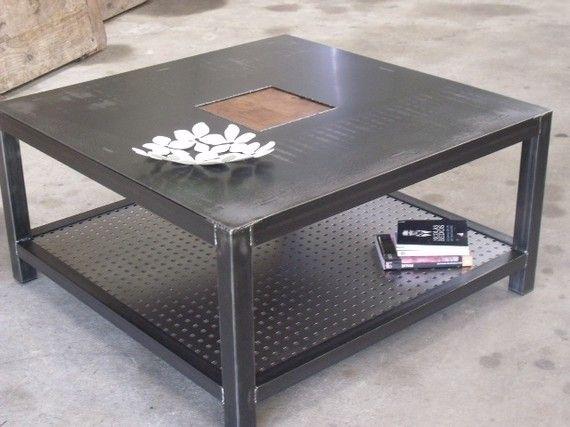 table basse m tal carr e sur mesure meuble au design. Black Bedroom Furniture Sets. Home Design Ideas