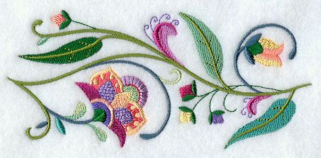 Jacobean Floral Border - machine embroidery. No reason the pattern couldn't be hand stitched once you purchase it.