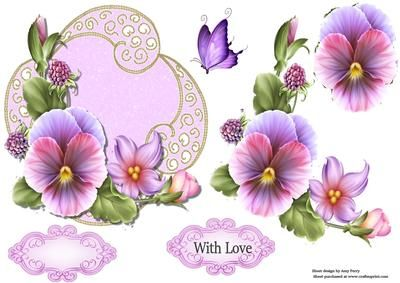 "Beautiful Lilac Flower Topper on Craftsuprint designed by Amy Perry - Beautiful Lilac Flower Topper on beautiful lilac and gold shimmer frame with decoupage and choice of tag ""With Love"" and a blank tag for your own sentiment - Now available for download!"