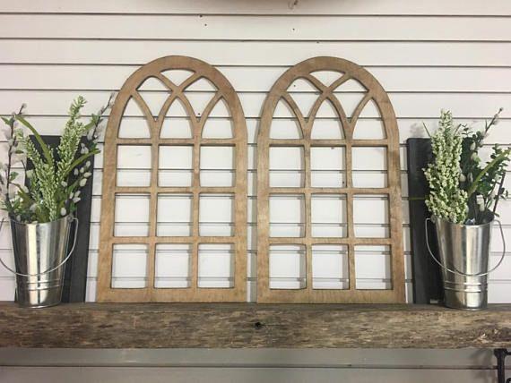 Vintage Arch Window Wood Frame Wall Art Decor Vintage Rustic