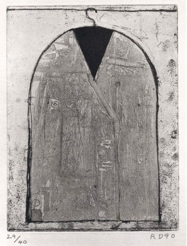 Richard Diebenkorn Coat IV from A Suite of Six Etchings from Poems of W.B. Yeats (1990), etching, 8½ × 6½ in.