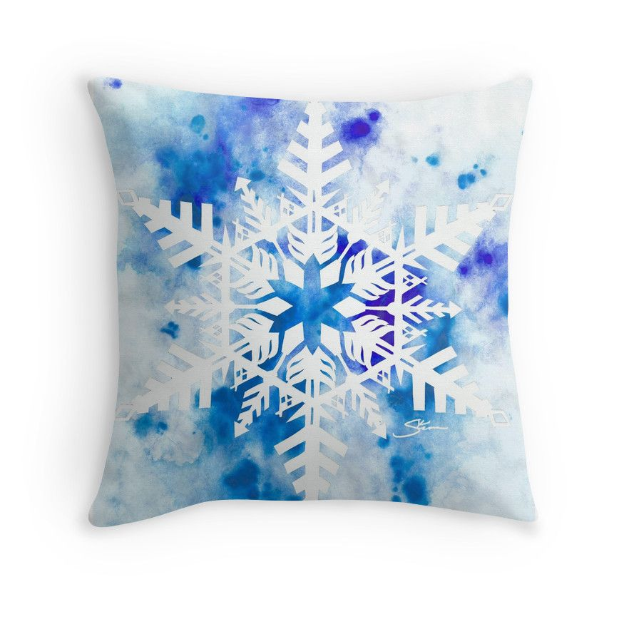 Papercut Snowflake with Blue Watercolor' Throw Pillow by