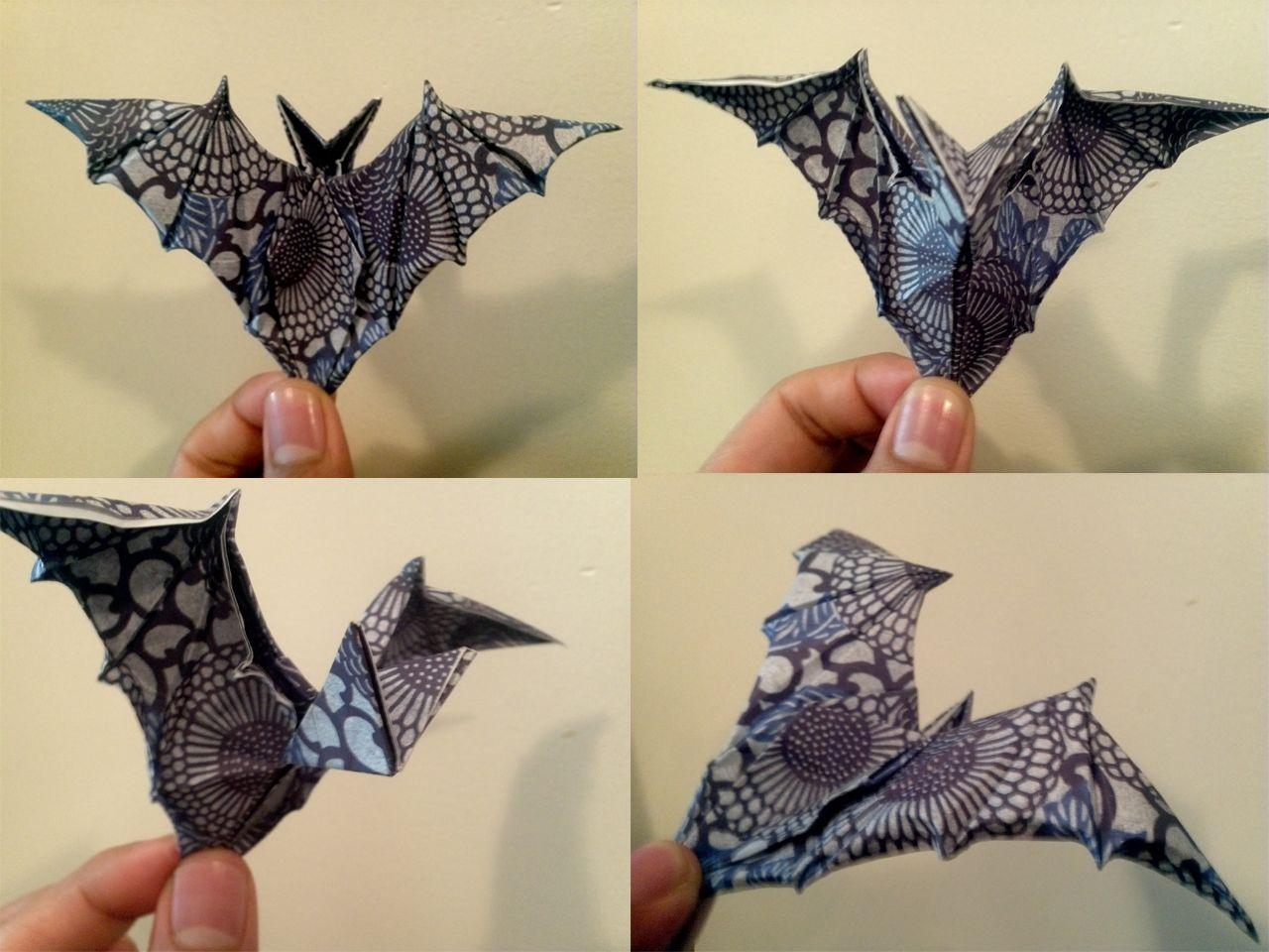 Paper bat crafts origami bat diagram origami baseball bat ornamental origami bat by zsairax pooptronica Images